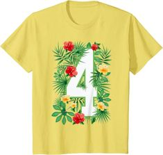 Amazon.com: Floral Number 4 Flower Four Gardener Summer Flowers T-Shirt: Clothing