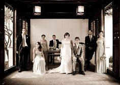 Great shot of a vintage style wedding at Snug Harbor Chinese Scholars Garden