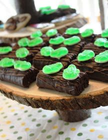 Frogs on a Log using ho-hos (or brownies) and gummy frogs