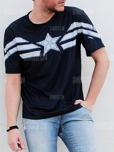 7f408312cdbb Fashion Round Neck Slimming Color Block Captain America Design Short Sleeve  Polyester T-Shirt For Men -  11.89 Free Shipping