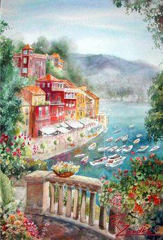 Portofino 1 - Watercolor of Portofino, Italy Rita Zaudke