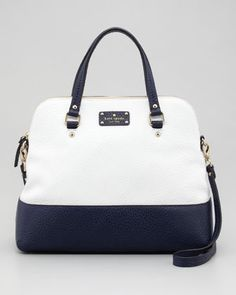 kate spade new york grove court maise satchel bag, cream/navy - Neiman Marcus