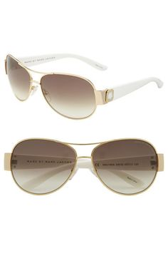 MARC BY MARC JACOBS Metal Aviators with Resin Temples | Nordstrom