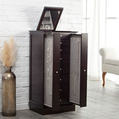 Exquisite Jewelry Armoire with Quilted Pullout Storage - Espresso - Jewelry Armoires at Jewelry Armoire