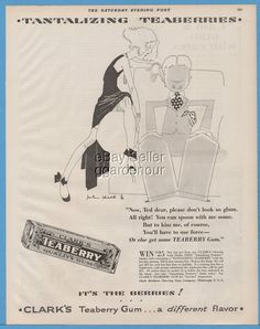1929 Clark Brothers Chewing Gum Co Teaberry Gum John Held Jr Illustrated Ad