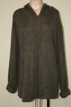 MAG by Magaschoni Brown Slouchy Oversized Mohair Wool Hooded Sweater sz L XL #MAGbyMagaschoni #Hooded