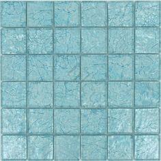 Sea Mist Blue 2'' x 2'' Glass  Glossy Tile