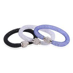 Austrian Crystal Set of 3 Bracelet in Silvertone TGW 0.003 cts.