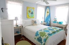Draw inspiration from your favorite things, places, or hobbies for your next paint project. Christine from NYC Pretty brings her beachy surf style into her updated guest room with soft blue paint and coordinating accessories.