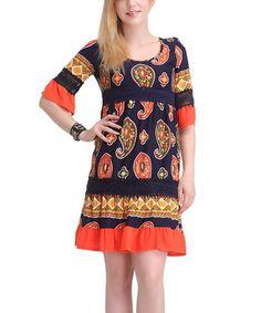 This Navy & Orange Paisley Bell-Sleeve Dress - Women is perfect! #zulilyfinds
