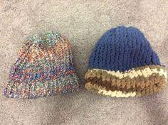 Handmade Knitted Hat Lot of 2 Multicolor Light Navy Blue Browns | eBay
