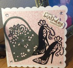 https://flic.kr/p/UnMoUj | Birthday cards | A 5x5 scalloped edge card, topped with pink backing paper. Corners embellished with gems. Die cut handbag(sweet Dixie dies), die cut killer heels(Tattered Lace die cut). Stamped sentiment is from a Stampin Up set