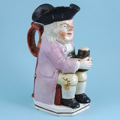 Staffordshire pottery Toby Jug. (1800 to 1810 England)