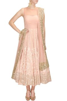 Baby pink and gold anarkali dress Lehenga, Anarkali Dress, Pakistani Dresses, Indian Dresses, Indian Outfits, Saris, India Fashion, Ethnic Fashion, Asian Fashion