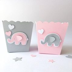 Items similar to Pink Gray Elephant Favor Paper Boxes Girl Baby Shower 1 st Birthday Party Decor Popcorn Candy Boxes Elephant Theme Baby Decor Its a Girl on Etsy Elephant Centerpieces, Baby Shower Centerpieces, Baby Shower Favors, Baby Shower Themes, Baby Shower Gifts, Shower Party, Shower Ideas, Elephant Decorations, Elephant Party