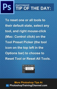 To reset one or all tools to their default state, select any tool, and right mouse-click (Mac: Control click) on the Tool Preset Picker (the tool icon on the top left in the Options bar) to choose to Reset Tool or Reset All Tools. Learn Photoshop, Photoshop Design, Photoshop Tutorial, Photoshop Actions, Adobe Photoshop, Photoshop Ideas, Photoshop Elements, Photography Software, Photoshop Photography