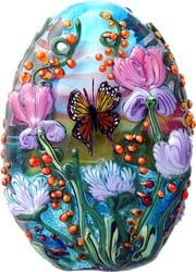 Perfect Pati Walton lampwork floral bead with iris and monarch butterfly. MonaRAEbeads.etsy.com