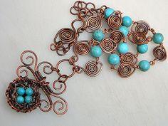Turquoise Bird's Nest Necklace
