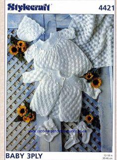 KNIT PATTERN Baby dress Shawl BootiesBonnet Mittens by carolrosa, $1.58