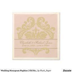 Wedding Monogram Napkins | Old Hollywood Glamour