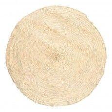Tapis en feuille de palmier D100 cm Naturel
