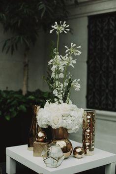 Modern Glam Gold Vase and Floral Vignette