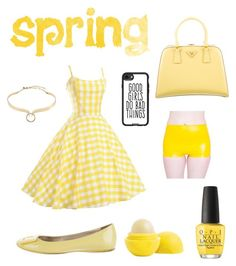 """Spring work wear"" by dtlpinn on Polyvore featuring OPI, Prada, Roger Vivier, Alexis Bittar and Casetify"