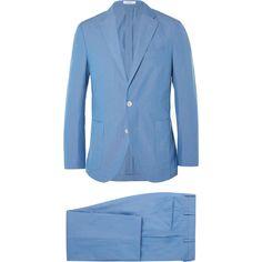 Boglioli Blue Slim-Fit Cotton Suit (104460 RSD) ❤ liked on Polyvore featuring men's fashion, men's clothing, men's suits, mens cotton suit, mens slim fit suits, mens tailored suits, mens blue suit and mens blue slim fit suit