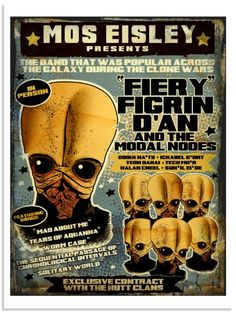 Star Wars: Mos Eisley Presents Fiery Figrin D'An and the Modal Nodes by Raymond Swanland Star Wars Concept Art, Star Wars Fan Art, Star Wars Party, Star Wars Poster, Love Stars, Clone Wars, Artist At Work, Nerdy, Art Gallery