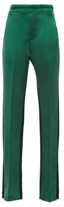 Ellery Magnitude Color-Blocked Wool and Silk-Satin Pants Green on shopstyle.com.au