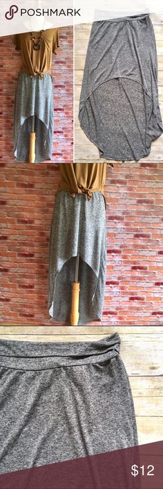 """H&M Hi low spacedye linen blend skirt Soft breezy skirt from H&M. Pair with your favorite tee for a laidback cool look. In excellent condition. Runs small, tag says 12, fits like an 8. Please refer to measurements. 16.5""""L in front, 38""""L in back. 14.5"""" waist unstretched and laying flat. 85/15 poly, linen. H&M Skirts High Low"""