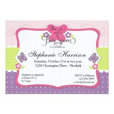 Erfly Baby Shower In Purple Pink And Green Invitation