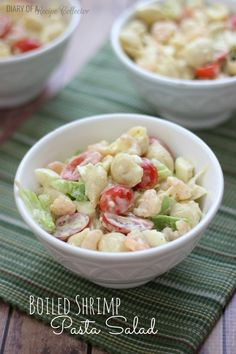 Boiled Shrimp Pasta Salad - Diary of A Recipe Collector It's time for another Cajun Cookin' post, and this month I'm sharing a favorite of mine. This Boiled Shrimp Pasta Salad is such a great side dish. It takes your ordinary pasta salad and kicks Shrimp Recipes, Pasta Recipes, Salad Recipes, Healthy Recipes, Soup Recipes, Cajun Recipes, Casserole Recipes, Shrimp And Corn Soup, Soups