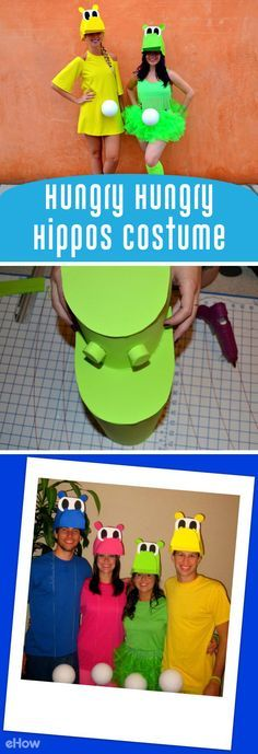 So cute! Hungry Hippos make such an adorable group costume! Dress it up or down and you've got the most colorful, playful group costume at the party! All you really need is the hippo head and that is so easy to make: http://www.ehow.com/how_12341063_diy-hungry-hungry-hippo-costume.html?utm_source=pinterest.com&utm_medium=referral&utm_content=freestyle&utm_campaign=fanpage