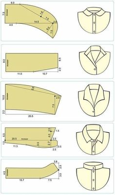 Ideas For Sewing Clothes Dresses Costura Sewing Collars, Sewing Shirts, Sewing Clothes, Diy Clothes, Barbie Clothes, Dress Sewing Patterns, Sewing Patterns Free, Clothing Patterns, Shirt Patterns