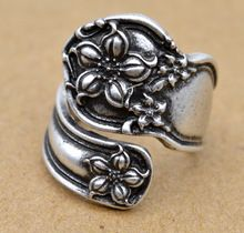 1pc Handmade Antique Silver Orange Blossom Spoon Ring Resizeble(China)