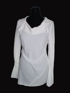 Cream White long sleeve blouse tunic of fine viscose by FedRaDD
