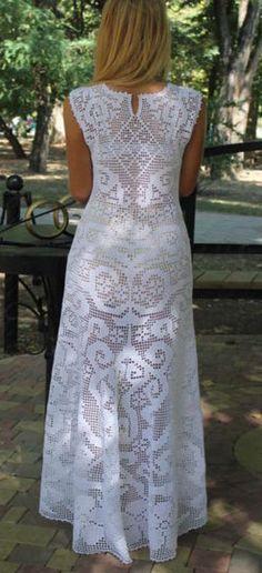 Filet crochet long white dress