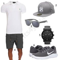 Sommer-Outfit für Herren mit weißem Ralph Lauren Poloshirt, New York Cap, grauer Indicode Shorts und La Optica Sonnenbrille, Fossil Uhr und Nike Schuhen.