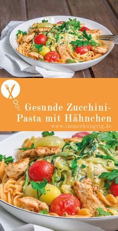 zucchini pasta with chicken always hungry - Healthy zucchini pasta with chicken. The recipe is totally changeable and you can easily adapt it t -Healthy zucchini pasta with chicken always hungry - Healthy zucchini pasta with chi. Healthy Pasta Recipes, Healthy Pastas, Chicken Recipes, Healthy Dishes, Crockpot Recipes, Chicken Zucchini Pasta, Healthy Chicken, Grilled Chicken, Zucchini Sauce