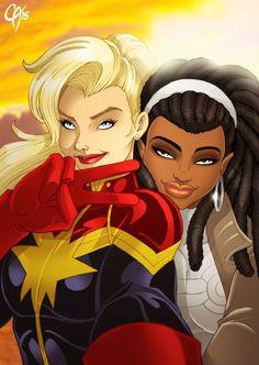 """cahnartist-world: """" Marvel Selfie """" Captain Marvels represent!"""