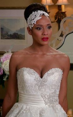 Rosie from Devious Maids.  Love this headpiece! Outfit Details: http://wornontv.net/34848/ #DeviousMaids