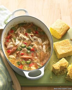 Half-Hour Chicken Gumbo recipe and video; Rely on rotisserie chicken, smoked spicy sausage, and frozen okra from the store to stack up flavors in our quick rendition of a classic Cajun stew. Chicken Gumbo Recipes, Soup Recipes, Cooking Recipes, Dinner Recipes, Quick Recipes, Cooking Tips, Recipies, Game Recipes, Recipe Sites