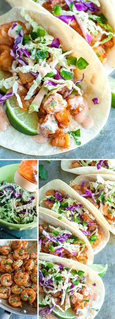 These Spicy Sriracha Shrimp Tacos fast, flavorful, and topped with a zesty Cilantro Lime Slaw that will rock yours socks! Healthy, Dairy-Free, + Gluten-free