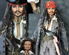 "AMAZING doll repaint - Jack Sparrow by *noeling on deviantART  This guy is phenomenally talented... No idea what the ""market"" is for something like this, but his doll repaints end up looking eerily life-like and dead-on miniatures of their original actors & characters... WOW!"