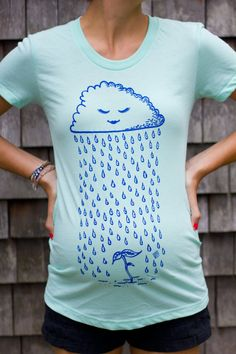 Sprout - Adorable Maternity T-shirt - Original Rain Cloud Design in Mint Green (Made in USA) by discobelly on Etsy https://www.etsy.com/listing/124820637/sprout-adorable-maternity-t-shirt