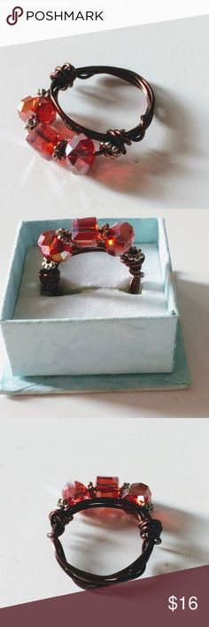 Red Crystal Beaded Wire Wrapped Ring size 8 Brand new handcrafted wire wrapped ring with red crystal beads, size 8. Comes with organza gift bag. handmade Jewelry Rings