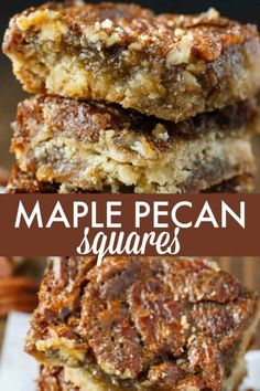 Maple Pecan Squares - So addicting! They are a cross between a butter tart and pecan pie. Maple Pecan Squares - So addicting! They are a cross between a butter tart and pecan pie. Pecan Desserts, Mini Desserts, Easy Desserts, Delicious Desserts, Yummy Food, Maple Dessert Recipes, Desserts With Pecans, Autumn Desserts, Maple Syrup Recipes