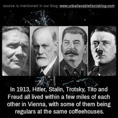 In Hitler, Stalin, Trotsky, Tito and Freud all lived within a few miles of each other in Vienna, with some of them being regulars at the same coffeehouses. Unbelievable Facts, Truth Of Life, History Memes, What Can I Do, Deceit, Coincidences, Mind Blown, Best Funny Pictures, Did You Know