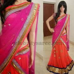 Pretty Colors chiffon Half Saree | Saree Blouse Patterns